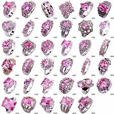 Pink Topaz Gemstones Silver Color Size 6 7 8 9 10 Ring For Christmas Party Gift