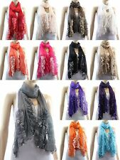 Fashion New Hot Womens Lace Long Soft Wrap Lady Shawl Silk Chiffon Scarf Scarves