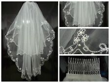 2014 New Style 2T  White/Ivory Wedding Veil+Combs
