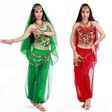 NEW belly dance professional 4pc costume veil top hip scarf pants set 12colors