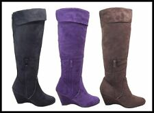 New Women's Wedge Faux Suede Fashion Mid Calf Boots Brown, Purple, Black