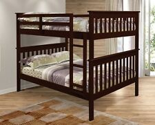 FULL OVER FULL BUNK BED - SOLID WOOD - CAPPUCCINO FINISH