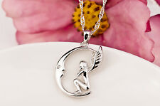 Solid 925 Sterling Silver Angel Wings Pendant Moon Dream Pendant GND0556