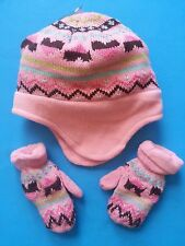 FADED GLORY TODDLER FLEECE & KNIT HAT AND MITTEN SET