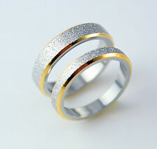 His and Hers Ladies Mens steel 18k gold filled love 5mm 3mm wedding ring band