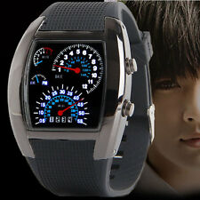 RPM Turbo Flash LED Blue & White Watch BRAND NEW Gift Sports Car Meter Dial Men