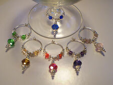 BEAUTIFUL  HANDCRAFTED WINE GLASS CHARM MARKERS   *1 SET OF 6 PCS*