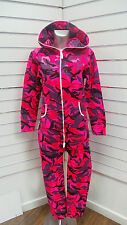Neon Pink Jungle Camouflage Ladies Onesie All In One Camo Womens Girls 8-14 S-XL