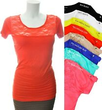 Scoop-Neck Tabbed Short Sleeve w/ Studs & Front Lace Detail TEE SHIRT Top  S,M,L
