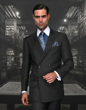 MENS H CHARCOAL DOUBLE BREASTED SUPER 150'S WOOL DESIGNER BUSINESS SUIT 38-56