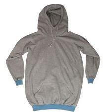 Gray Tall Hoodie Jumper - Baby Blue Trim