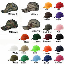 New Plain Baseball Cap Blank Velcro Adjustable Solid Hat Curved Visor One Size