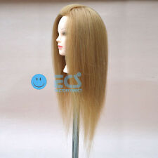 """New 25""""S Cosmetology Salon Real Blonde Hair Training Human Head Mannequin"""