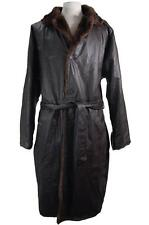 New Mens Mark Andre Reversible 100% Genuine Leather Faux Fur Trench Coat Brown