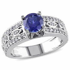 Sterling Silver 1 3/4ct TGW  Blue and White Sapphire Engagement Ring