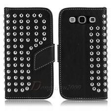 Stud Leather Flip Wallet Stand Hard Case Cover For Samsung Galaxy SIII S3 I9300