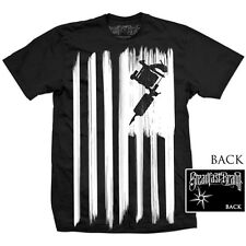 Men's Steadfast Brand Steadfast Nation Tee Black Tattoo Machine Gun Flag