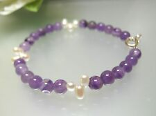 Vintage top quality nature Amethyst w/ Pearl bracelet 925 sterling silver clasp