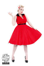 HEARTS & ROSES 1950s Fashion Dress H R Red Black Spot Rockabilly Pin Up Retro