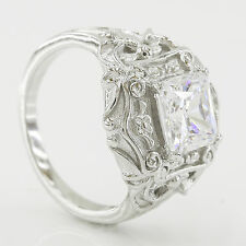 2.75 CT Sterling Silver Vintage Style Princess Cut Wedding Engagement Ring