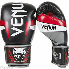 Venum Elite Boxing Gloves (Black/Red/Grey) - mma training gear
