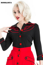 Voodoo Vixen Black Women Rockabilly Retro Vintage 50s Pinup Top Shirt TP1629