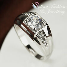 18K White Gold Plated Simulated Diamonds Classic Men's Engagement Wedding Ring