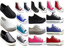 WOMENS LADIES FLAT CANVAS SHOES GIRLS PLIMSOLLS PUMPS CASUAL LACE UP TRAINERS