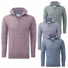 Charles Wilson Men's 100% Twisted Cotton Zip Neck Jumper With Contrast Collar