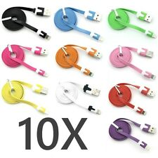 10X FLAT Noodle 8 pin USB Data Sync Charger Cable iphone 5 5s 5c ipod touch Nano