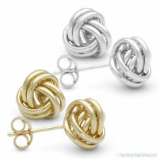 14kt Solid Yellow / White Gold 8mm Love Knot Stud Earrings 14k 14 kt Studs