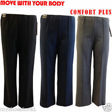 NEW LADIES WOMENS COMFORT PLUS ELASTICATED STRETCH BOOTCUT CASUAL WORK TROUSERS