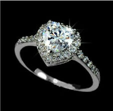 18K Yellow Gold Gp/White Gold GP Clear Austrian Crystal Engagement Ring AC285