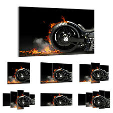 47 Shapes Canvas Picture Print Wall Art Motorcycle Chopper Flames Fire 2513 E