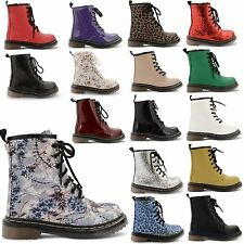 BOYS GIRLS KIDS COMBAT FUNKY PUNK GIRLS FASHION ANKLE BIKER BOOTS SHOES SIZE