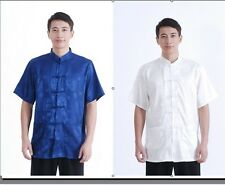 White/Blue,Handsome Chinese men's style T-shirt Tops Sz:S-XXXL