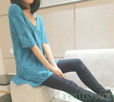 Fashion Women Loose Round Neck 1/2-Sleeve Knit Top Sweater Hollow Out Blouse New