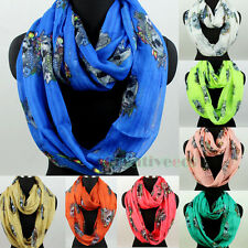 Fashion Womens Fish&Skull Print Long/Infinity Scarf Polyester Ladies Scarves New