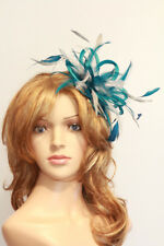 Teal Blue & Silver Feather Fascinator Hat Choose any colour Satin Feather