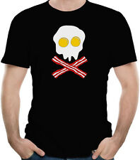 Bacon And Eggs Skull Funny Breakfast T-Shirt 100% Soft Cotton