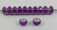 10 OR 20 BRIGHT  PURPLE FACETED ACRYLIC  BEADS EUROPEAN CHARM BRACELET