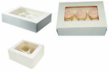 4, 6 OR 12 Hole Cupcake Fairy cake Muffin boxes clear Window/ insert 4 Inch Deep