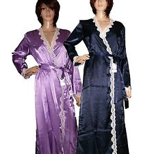 LADIES SATIN NAVY LILAC WITH CREAM LACE DRESSING GOWN/ROBE UK SIZES - S M L XL