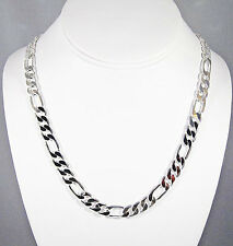 MENS 8MM STERLING SILVER FINISH PREMIUM QUALITY FIGARO LINK CHAIN NECKLACE