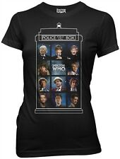 Doctor Who 50 Years 11 Doctors in Tardis Juniors black t-shirt Dr Who