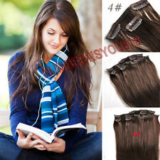 Clip in Human Hair Extension 4# Chocolate Brown 15INCHES-22INCHES 70/80G Remy