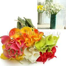 10PC Artificial Latex Calla Lily Flowers Bouquet Real Touch Wedding Bridal Decor