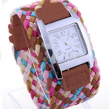 LADIES GIRLS POPULAR CANDY COLOR BRAIDED PLAITED ROPE WRAP WRIST WATCH HOT BG8K