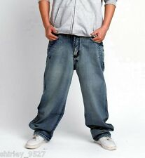 New Mens Hip Hop Jeans Denim Ecko Relaxed Baggy Loose HipHop Streetwear Trousers