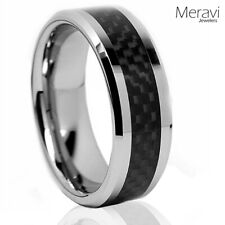 Black Carbon Fiber Titanium Silver Mens Wedding Band Engagement Promise Ring NEW